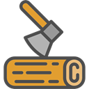 Axe, Woodcutter, Tools And Utensils, Camping, rural DarkSlateGray icon