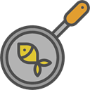 Camping, kitchenware, Pan, Tools And Utensils, Cooking, fish DarkGray icon