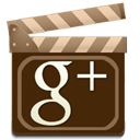 google, plus, movie Maroon icon