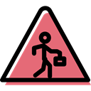 Alert, traffic sign, pedestrian, warning, signs, danger, triangle Black icon