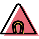 triangle, Alert, danger, traffic sign, Horseshoe, warning, signs Black icon