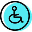 Obligatory, signs, traffic sign, handicap, Disabled, Circular Turquoise icon