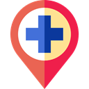 Maps And Flags, signs, map pointer, pin, Map Location, Map Point, hospital, placeholder Black icon