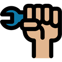 Fist, protest, worker, Wrench, Gestures, Hand Gesture, Fists Black icon