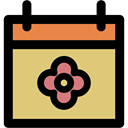 Calendar, Flower, spring, day BurlyWood icon