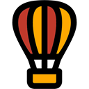 hot air balloon, flight, transportation, transport Black icon