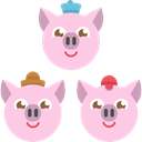 Three Piglets, Animals, Characters, Fairy Tale, legend, Fantasy, Pigs, Avatar, Folklore MistyRose icon