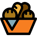 baked, Bread, food, Basket, Bakery, Roll, bun Black icon