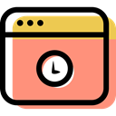 Browser, internet, computing, Multimedia Option, time, Multimedia, interface, Clock LightSalmon icon