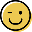 Face, wink, feelings, people, interface, Emotion, smiley, Emoticon, smiling SandyBrown icon