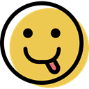 interface, feelings, Emotion, Face, smiley, smiling, Emoticon, people, tongue SandyBrown icon