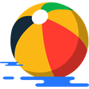 Ball, Fun, leisure, Beach ball, summer Orange icon