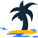 nature, Island, Oasis, Palm Tree, Desert, tropical Black icon