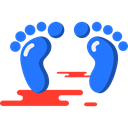 Footprints, barefoot, evidence, Feet Black icon
