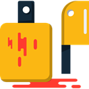 Butcher, Cut, Knife, Cutting, meat, Knifes, Cutlery, Tools And Utensils Orange icon