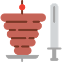 Kebab, Roll, food, meat, Doner Kebab IndianRed icon