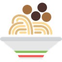 food, Healthy Food, Italian Food, Pasta, Meatballs, Spaghetti Black icon