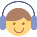 Face, musical, Auriculars, music, Headphones, person, Emoticon, interface, listening Khaki icon