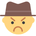 Angry, interface, Emoticon, Face, Gangster, people Khaki icon