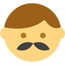 moustache, Heads, Facial Hair, interface, hipster, emoticons, faces, people Khaki icon