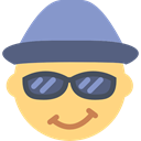 hat, Gestures, head, Glasses, interface, Emoticon Khaki icon