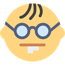 interface, Freak, Glasses, geek, nerd, Emoticon Khaki icon