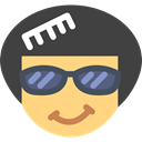 Afro, Glasses, hair, interface, Face, Emoticon, Hair Brush DarkSlateGray icon