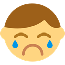 Cry, interface, Weep, Emoticon, Gestures, sad, Crying, sadness Khaki icon