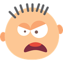 Yelling, emoticons, feelings, baby, people, Emoticon, interface, Heads, faces NavajoWhite icon