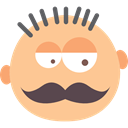 Man, moustache, Face, interface, Emoticon, Manly, people NavajoWhite icon