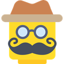 Man, hat, person, moustache, people, Gentleman, persons, male, Lego, interface, Elegant Gold icon