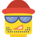 Facial Hair, smile, emoticons, Heads, Lego, faces, hipster, people, interface, Beard, feelings Gold icon