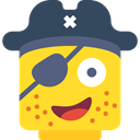 Face, pirate, Lego, interface, Angry, Patch, Emoticon Gold icon