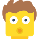 head, surprised, Gestures, smiley, Emoticon, Lego, people, interface, shock Gold icon