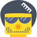 Afro, Face, Lego, Emoticon, Hair Brush, Glasses, interface, hair DarkSlateGray icon