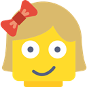 happy, feelings, Heads, emoticons, interface, faces, Lego, Girl, people Gold icon