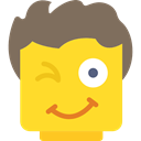 Emotion, interface, smiling, Emoticon, people, wink, Face, smiley, feelings, Lego Gold icon