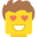 Face, square, smile, in love, interface, emoticons, smiling, Emoticon, Lego Gold icon