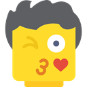 Lego, flirt, Emoticon, kiss, Flirtatious, interface, flirty, Face Gold icon