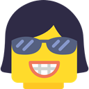 interface, Emoticon, Face, Vain, Lego, smug, Girl, Arrogant DarkSlateGray icon