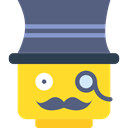 interface, Gentleman, Masculine, Mustache, Lego, Sir, Gestures, Emoticon DimGray icon