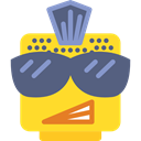 interface, Crest, Emoticon, Punk, Goatee, Lego Gold icon