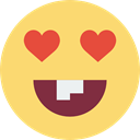 Emoticon, emoticons, smiling, in love, square, interface, smile, Face, rounded, Fool Khaki icon