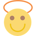 Emoticon, Face, feelings, interface, smiling, Emotion, people, Angel, smiley Khaki icon