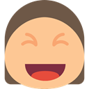 Emoticon, smiley, Face, happy, emoticons, smiling, Haw Emoji Stroke, laughing, interface NavajoWhite icon