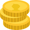 Coins, Money, Cash, stack, Currency, Business Goldenrod icon