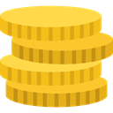 Coins, Business, Money, Cash, Currency, stack Goldenrod icon