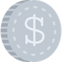 Cash, Dollar, Money, coin, Business, Currency Silver icon