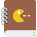 videogame, gaming, Game, Notebook, playing, play, leisure, manual, pacman Sienna icon