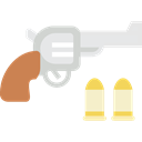 Bullets, revolver, weapons, Gun, pistol Black icon